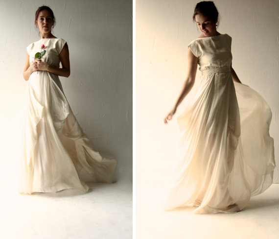 Wedding Dress Boho Hippie Edgy Alternative Ivory Modern