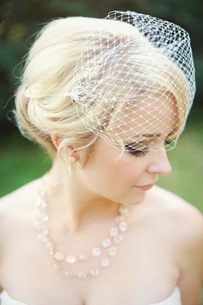 Hochzeit - Bandeau Veil, Birdcage Veil, Wedding Veil, Bridal Veil, Russian Veil, Bird Cage Veil