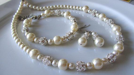 زفاف - SALE ***Ivory bridal set  with crystal  balls  - Bridesmaid jewelry set - Ivory pearl jewelry set