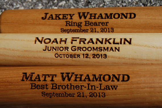 "Свадьба - 2 Personalized Groomsmen Gifts - Engraved 18"" Mini Wood Baseball Bat for Ring Bearer Gift, Wedding, Usher and Groomsmen Keepsake"
