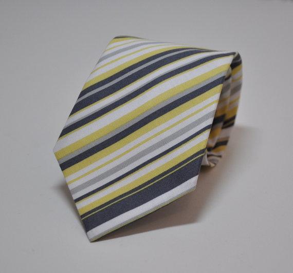 Свадьба - Necktie - Yellow and Grey Stripe - Men's Tie or Boy's Necktie - Groomsmen Ties