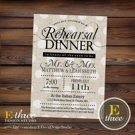 Hochzeit - Printable Rehearsal Dinner Invitation - Rustic Rehearsal Invitation - Shabby Chic Neutral Black and Beige Invitation