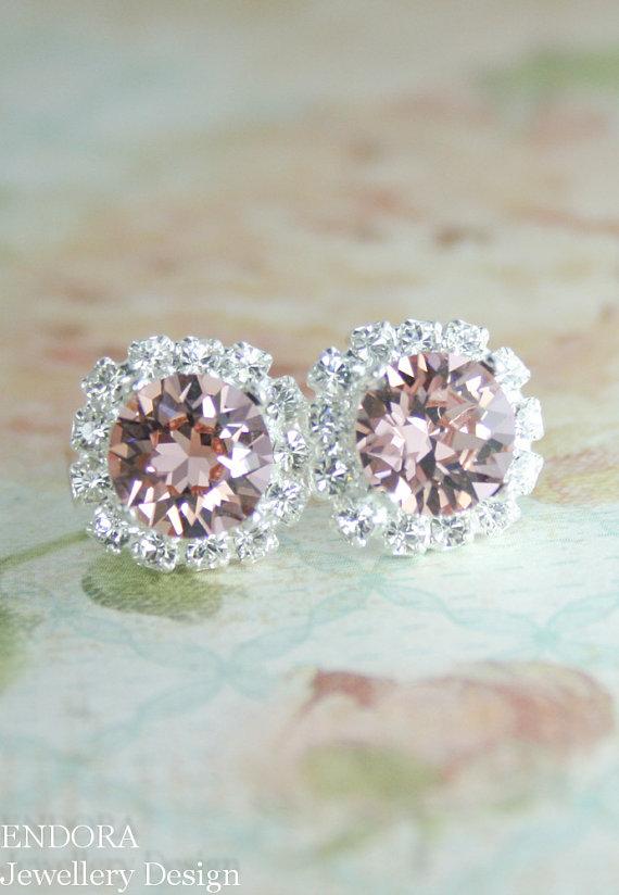 Mariage - Blush pink crystal earrings, Rose gold bridal earrings, Swarovski earrings,crystal earrings, Blush pink earrings,Blush pink wedding jewelry