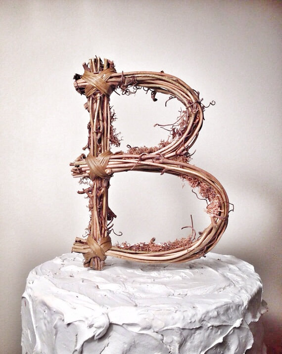 Rustic Wedding Letter B Rustic Twig Wedding Cake Topper 2220689
