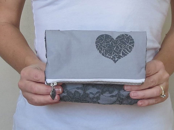 Mariage - heart accented clutch on fold over style. gray lace with zipper closure. bridesmaids clutch wedding style.