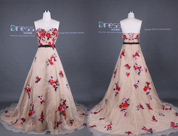 Unique 2015 champagne sweetheart red flowers embroidery a for Flower embroidered wedding dress