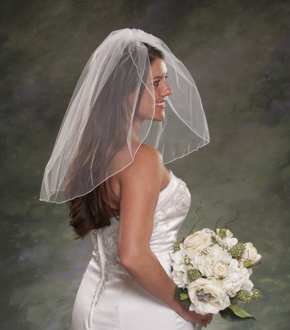 زفاف - Wedding Veil 1 Layer Pencil Edge Shoulder Length 24 Inch Illusion Tulle Veil Ivory Bridal White Short Bridal Veils