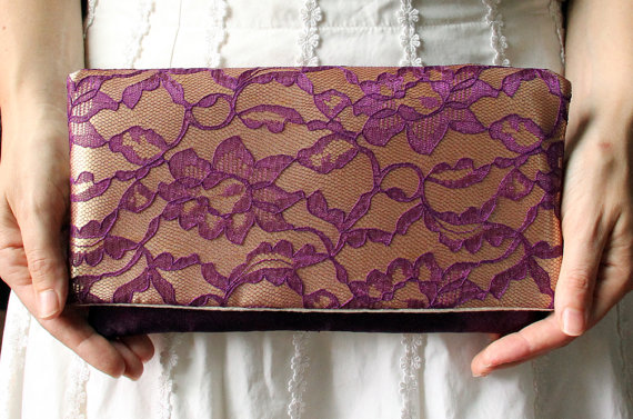Mariage - The LENA CLUTCH - Gold Satin and Purple Lace Clutch - Lace Wedding Clutch - Bridesmaid Gift Idea