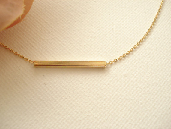 Gold Bar Necklace Celebrity Inspired Everyday Simple Best