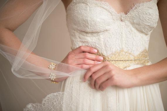Свадьба - GOLD SASH- Bridal Belt Wedding Belt- French Chantilly ISABELLA Gold Lace Bridal Wedding Sash from Camilla Christine