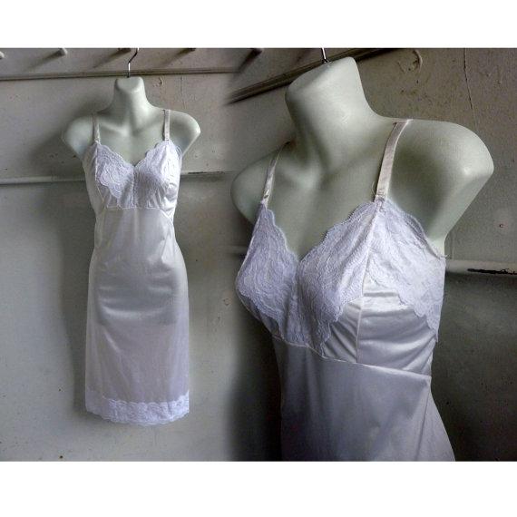 زفاف - 50s Vintage Slip Size 38 White Nylon Lace 60s