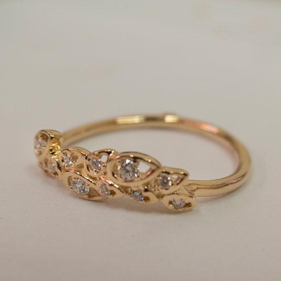 زفاف - Leaves Engagement Ring  - Rose Gold and Diamond engagement ring, engagement ring, leaf ring, filigree, antique, art nouveau, vintage