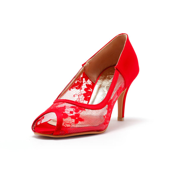 Hochzeit - Red Lace  Wedding Heel,Red Bridal lace Heel,  Red Satin Heels, Red Wedding Shoes, Red See Through Wedding Shoes