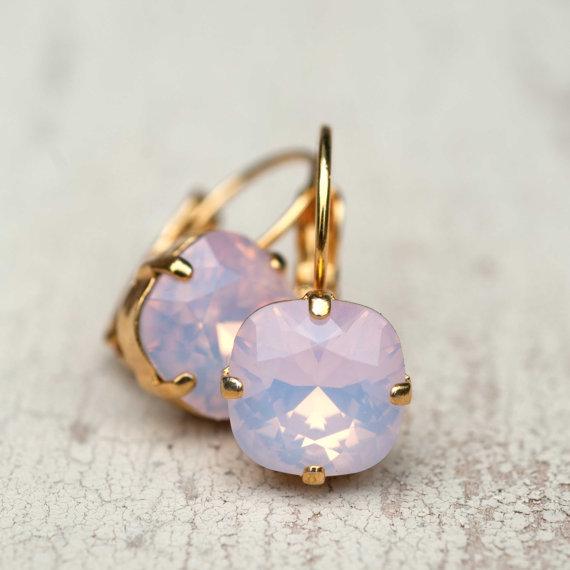 Mariage - Ballet Pink Opal Earrings Gold Estate Style Vintage Earrings Wedding Jewelry Earrings Bridal Earrings Bridesmaids Gift Dangle Earrings