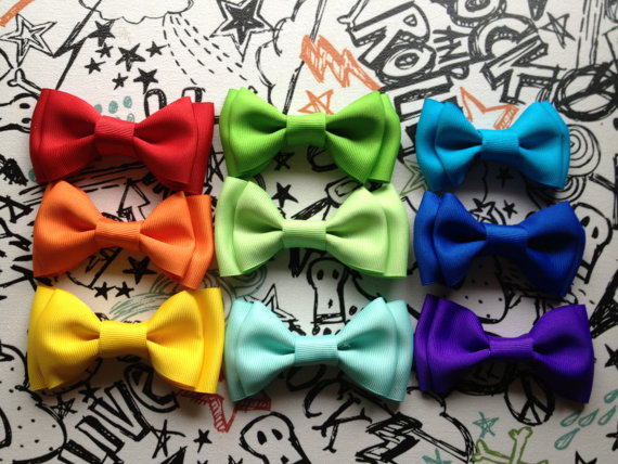 زفاف - 3 three Bowties, handmade cat bowtie, Slides right onto Collar or clip on, adjustable.