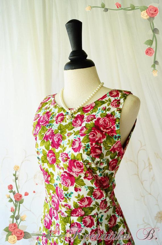 Hochzeit - Lady Moment Sundress Floral Summer Dress Floral Party Dress Garden Dress Tea Dress Floral Bridesmaid Dress Roses Summer Mini Dresses