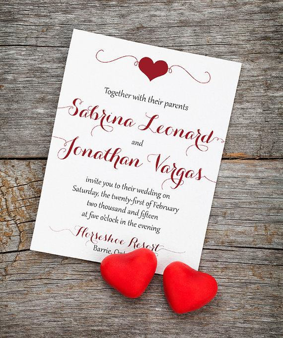 "Свадьба - Heart Wedding Invitation Card with Envelope ""Fluttering Hearts"" Wedding Invitation Deposit - Valentine Wedding - Burgundy Red Black Wedding"