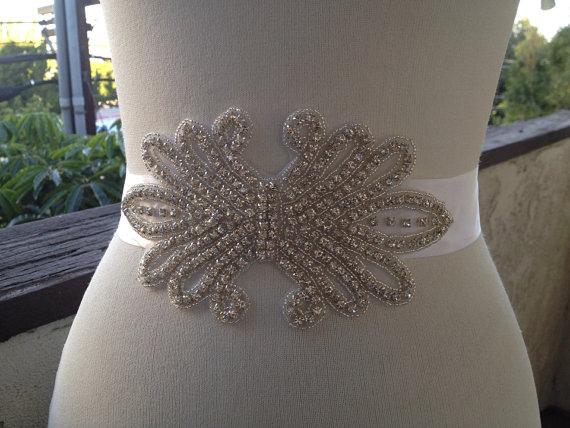 زفاف - Big Beaded Birdal Sash ,Wedding Bridal Belt Sash, Bridal Rhinestone Belt, Wedding Crystal Belt, Wedding sash