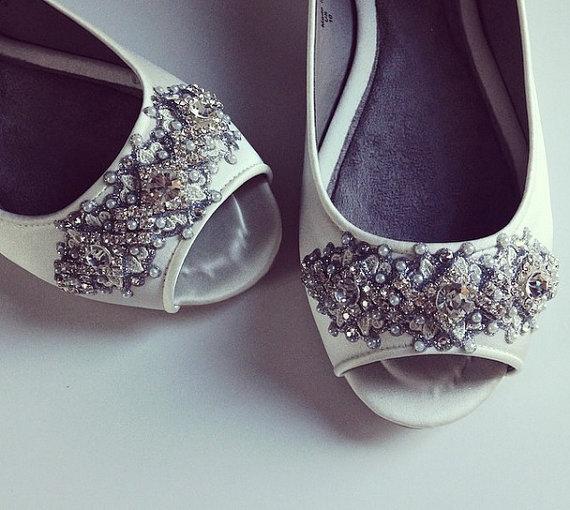 زفاف - Downton Abbey Bridal Open toe Ballet Flats Wedding Shoes - All Full Sizes - Pick your own shoe color