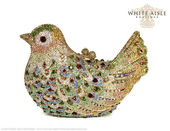 زفاف - Crystal Bird Clutch, Bridal Clutch, Gold Minaudiere, Wedding Purse, Evening Bag, Luxury Clutch