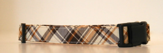 زفاف - Autumn Fall Winter Plaid Brown Cream Dog Collar Wedding Accessories Made to Order
