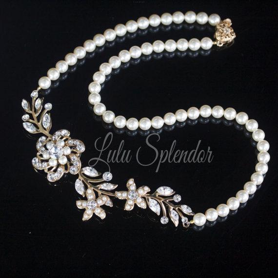 Mariage - Gold Wedding Necklace Pearl Bridal Necklace Swarovski Crystal Flower Leaf Wedding Jewelry Swarovski Pearl Rhinestone Necklace SABINE 2 NL