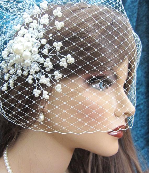 زفاف - Detachable birdcage veil and pearl bridal comb