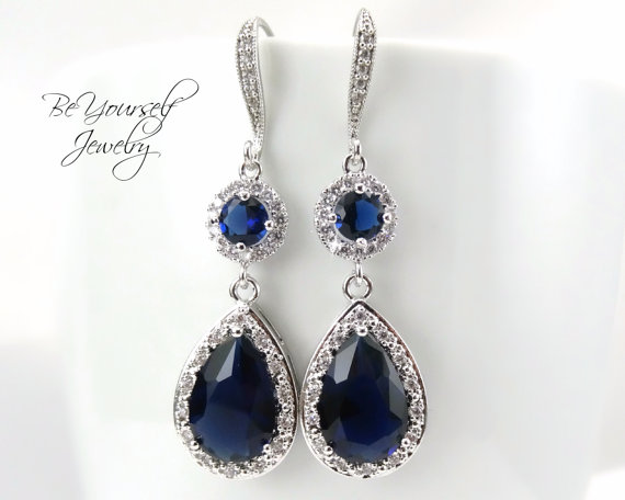 Sapphire Bridal Earrings Long Blue Teardrop Earrings Sparkly Cubic