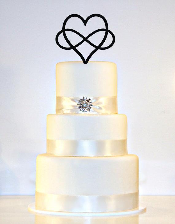 Infinity Open Heart Wedding Cake Topper