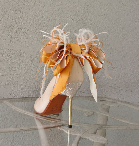Wedding - Bridal Party Wedding Burnt Orange And Ivory Satin Ribbon Bow And Feather Shoe Clips Set Of Two More Colors Available