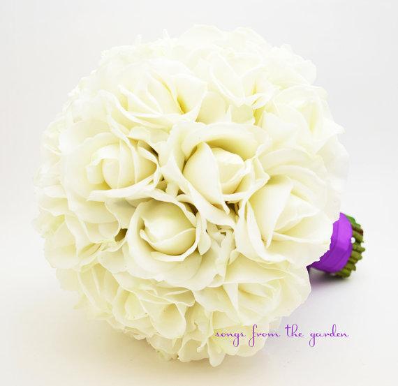 زفاف - Reserved - Ivory Real Touch Roses Bridal Bouquet Groom's Boutonniere Gold Satin Ribbon Flower Girl Bouquet