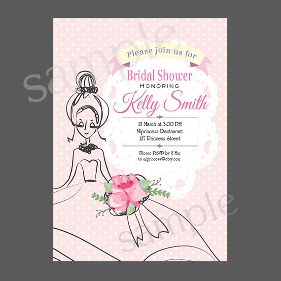 bridal shower invitation wedding shower invitation shabby chic party invitation card design doodle sketch bridal card 74