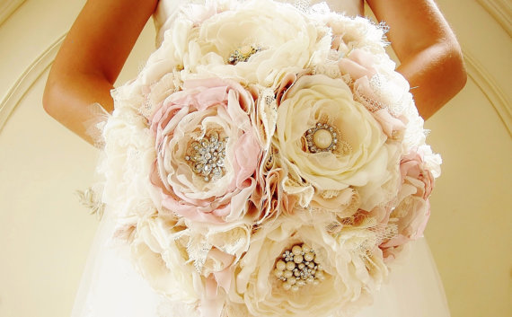 Wedding - Reserved Listing - Fabric Flower Bouquets and Accessories