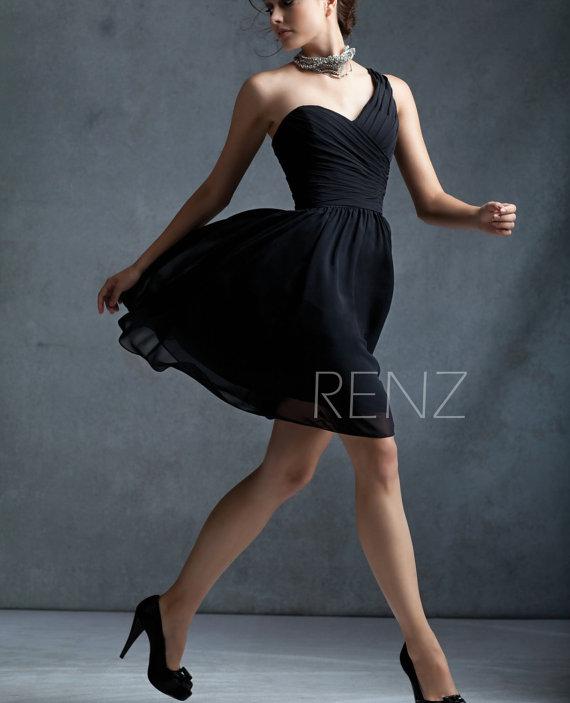 Hochzeit - Black bridesmaid dress, One shoulder, Formal dress, Wedding dress, Party dress, Prom dress (B012 )