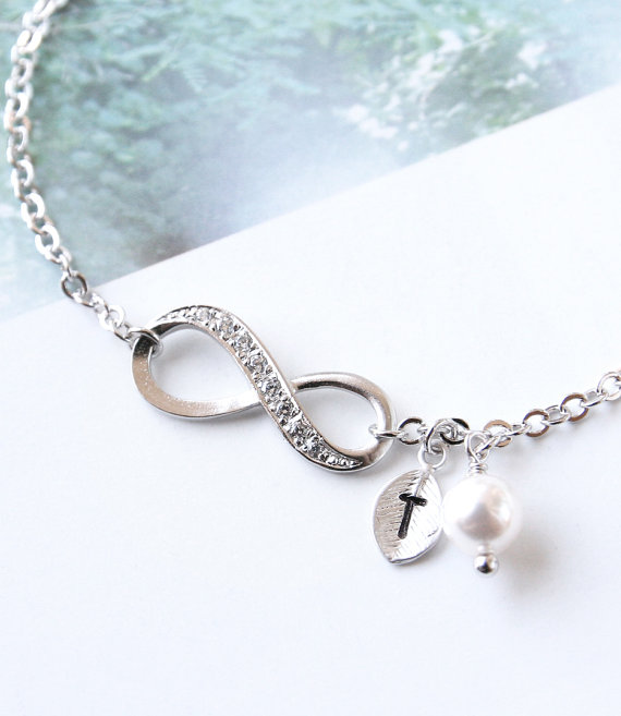 Infinity Bracelet Initial Personalized Swarovski Pearl Friendship Bridesmaid Gift One Of A Kind