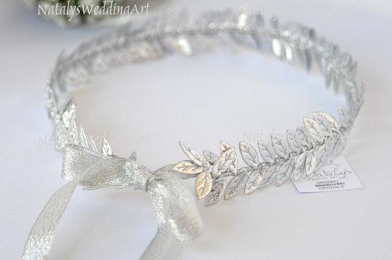 Wedding - Laurel Wreath Bridal Halo Silver Color Leafs Crown / Grecian Headpiece / Headband / Wedding Crown