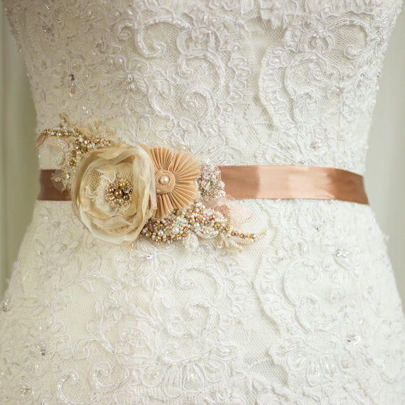 Flower Belts For Wedding Dresses: Wedding Dress Belt, Bridal Sash, Wedding Belt, Rustic Gold