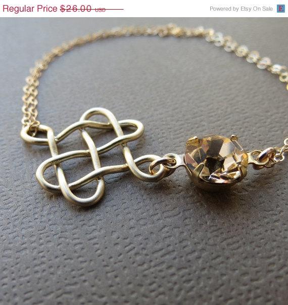 زفاف - ON SALE Celtic Knot Bracelet, Gold Filled Bracelet, Celtic Bracelet, Knot Bracelet with Rhinestone, Bridal, Bridesmaids Jewelry,Wedding,Gift
