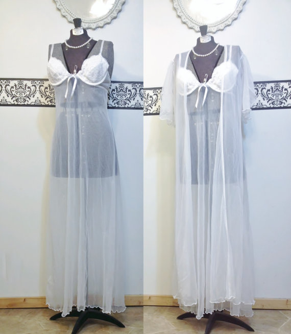 Wedding - Vintage Sheer White Floor Length Pin Up Nightgown & Peignoir by Mayela, Size Medium, VintageTeddy and Dressing Gown, Vintage Bridal Lingerie