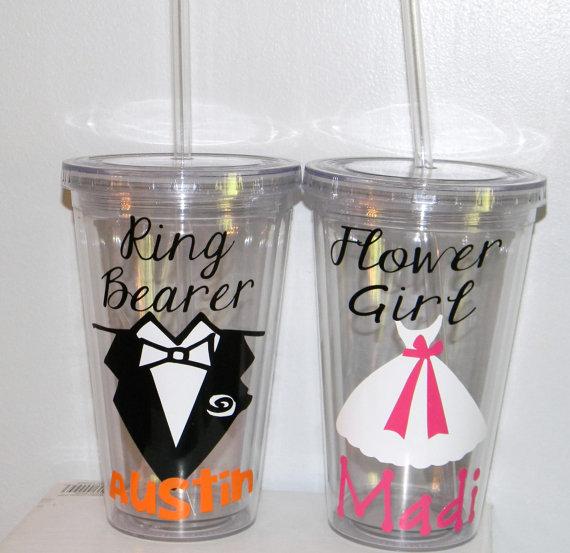 Mariage - Flower Girl or Ring Bearer Tumbler Personalized  Wedding -   Flower Girl Ring Bearer- Any Color Any Design Custom