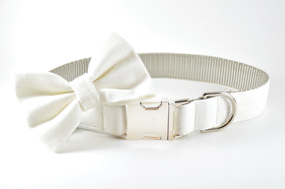 زفاف - Ivory Linen Dog Collar - Off-White and Silver Metal Hardware Linen Cotton Wedding Formal Dog Collar