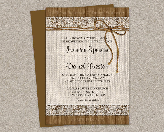 Rustic Wedding Invitations With Burlap Lace And Twine DIY
