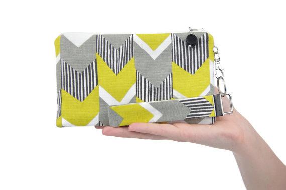 Mariage - Womens clutch purse - small purse - boho bridesmaids clutch - yellow & gray wedding - geometric bag - zig zag fabric handbag - MADE TO ORDER