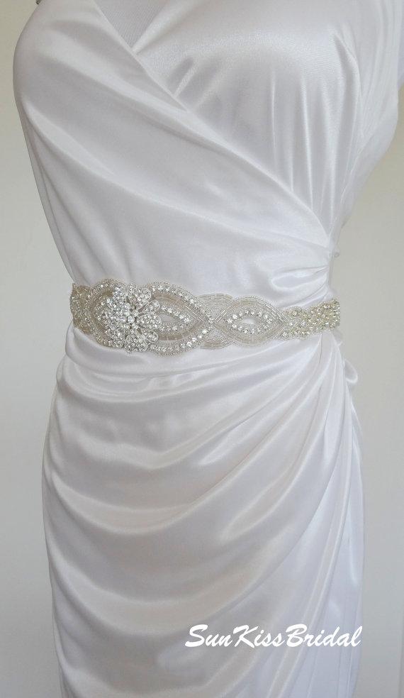 Свадьба - HEATHER Crystal Bridal Braided Sash,Beaded Wedding Belt