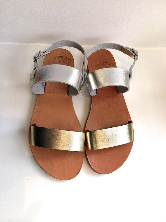 Mariage - Gold and Silver Real Leather sandals women flat shoes straps, wedding sandals, beach shoes