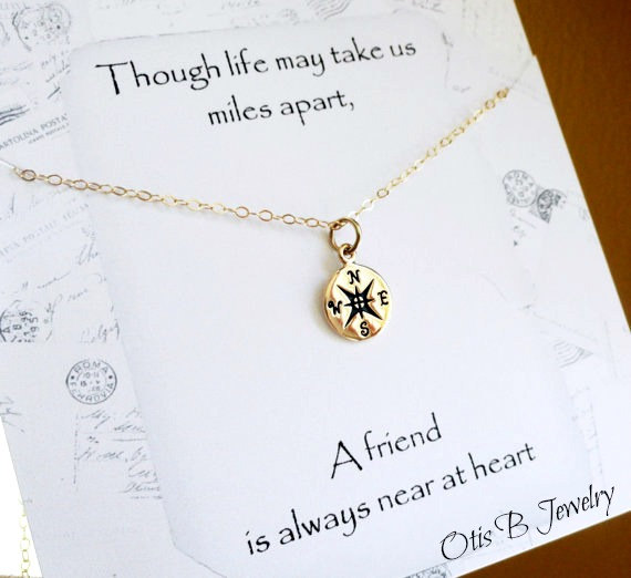 Wedding Gift Card Message Suggestions : ... message card, Best friend gift,compass charm, Bridesmaid gift, best