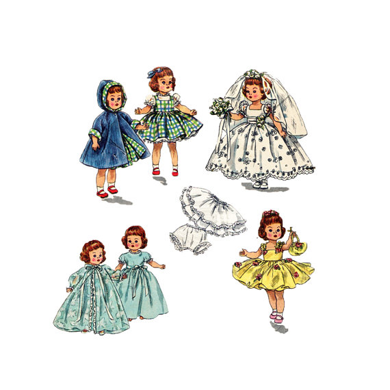 Mariage - 1950s  Doll Clothes Pattern Alexander Ginny Muffie Simplicity 2294 10 inch Doll Bridal Dress Coat Lingerie