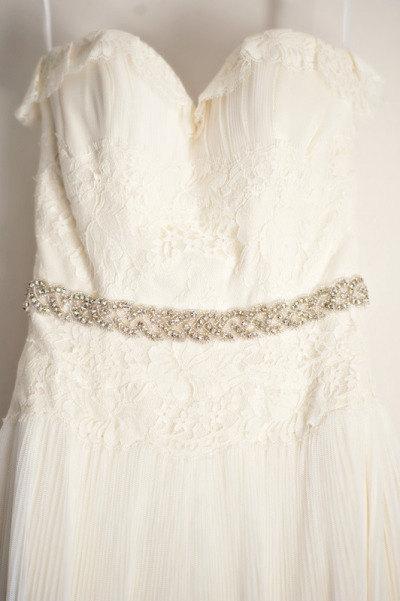 Mariage - Stunning Crystal Bridal Sash,Wedding Dress Sash Belt, Rhinestone Sash, Rhinestone Bridal Bridesmaid Sash Belt, Wedding dress sash