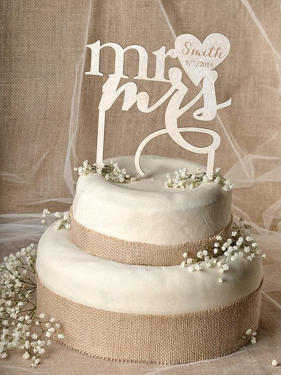 Rustic Cake Topper, Wood Cake Topper, Monogram Cake Topper, Mr And ...