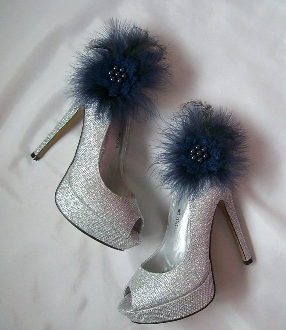 Mariage - Navy Blue Lace Satin Organza Feather and Pearl Glamorous Shoe Clips Bridal Wedding Prom Races - Custom Made to Order